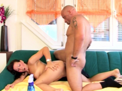 bald old dude gets lucky with a beauty