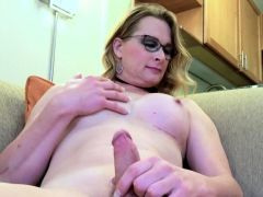 Spex Tranny Wanks Hard Cock After Interview