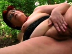 horny granny fingers her coochie outdoors as she moans loud granny sex movies