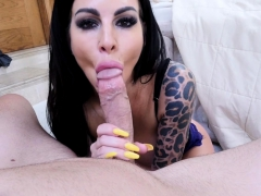 dirty milf stepmom dropped on her knees and sucked a penis PornBookPro