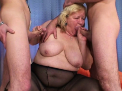 very old big titted blonde grandma swallows two cocks