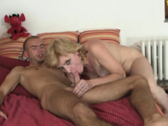 blonde mother-in-law bengs over for his horny cock