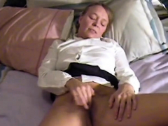 slut masturbates and cums twice, interrupted by mom at end