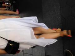 Blonde In See Thru White Dress