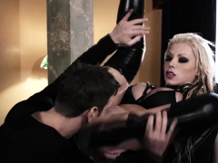 Punk goth babe double analed by toy and cock and anal squirt