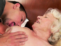 saggy granny gets hairy vagina drilled deeply