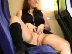 horny wife flashing in train