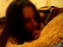teen nails teddy bear on webcam