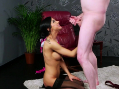 Busty british babe sucking cock for facial