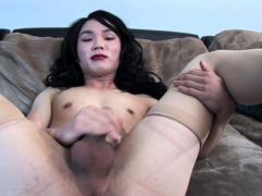 Lingerie Asian Tranny Jerking At Casting