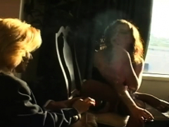 Aged Doxy Enjoying A Cigar And Deepthroating Her Stud