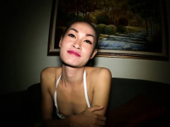 Cute ladyboy in white lingerie gets bareback fucked