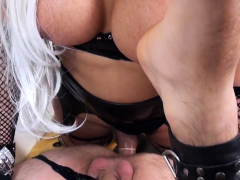 Blond Tranny Leticia Fucks Her Slave