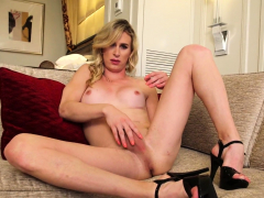 Hot blonde tranny toying her tight ass