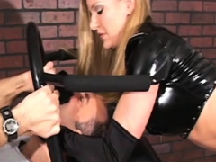 Sexy dominas make a infirm guy do foot and a-hole worship