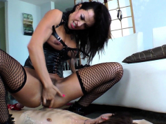 Toy loving beauty squirting over her slave
