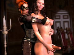 Fantasy 3D Futanari. Redhead VS Brunette 3DX anime