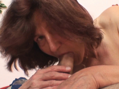 Smart old grandmother rides his cock