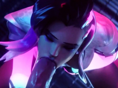 Sombra and Mercy taking big dicks in mouth and pussy