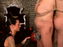 serf gets his arse fisted and penis pumped by mistress
