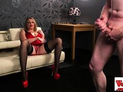 busty-british-slut-teasing-cfnm-loser