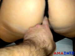 Whore girl in stockings and crotchless thong takes cock