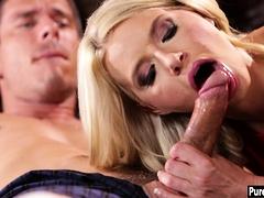 Weird blonde pornstar fan sucks and fucks his big dick