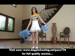 Brunette Cheerleader Flashing Panties And Doing Blowjob For