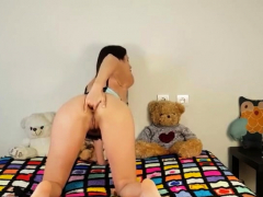 horny girl fists her ass and pussy on webcam