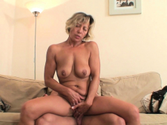 sexy blonde mother-in-law rides boy's cheating dick
