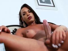 Ebony Tgirl Anny Kelly Strokes Her Big Cock