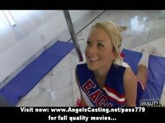 Cute Cheerleader Exercising And Flashing Panties And Doing