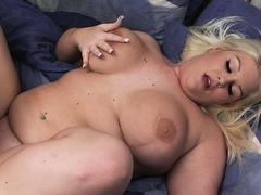 Hot looking blonde BBW helps him cum