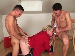 Two repairmen share very old blonde granny