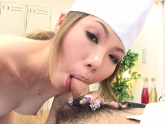 Japanese girl, Moe Yazawa is sucking dick, uncensored