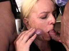 Hairy blonde granny double penetration on interview