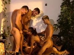 Double penetration group sex blond fuck