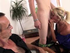 Young Czech blonde girl cuckolds old husband