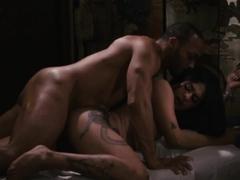Busty latina shemale Eva Maxim sucks masseurs bbc