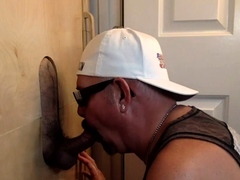 Mature daddy blowing gloryhole dick for spunk
