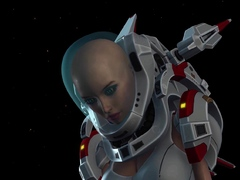 Spacewoman in spacesuit plays with alien on the exoplanet