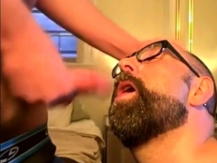 bearded-guy-takes-two-loads-to-the-face-from-his-buddy