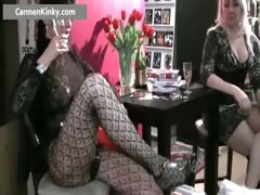 Two Kinky Milf Fucking Dude With Strap Part1