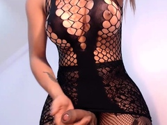 Big tits girl masturbates on webcam