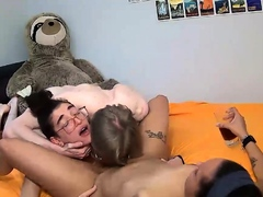 Hardcore amateur threesome with two slutty chicks live