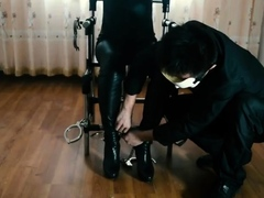 two women fetish latex asslicking and anal mff