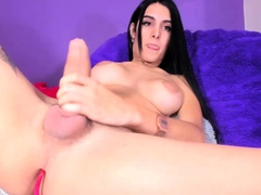 Big Tits Tranny Jerking her Big Hard Cock