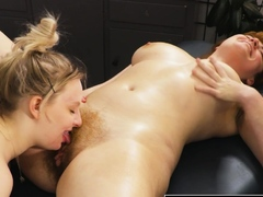 hairy-lesbian-pussy-and-ass-licked-by-busty-blonde-masseuse