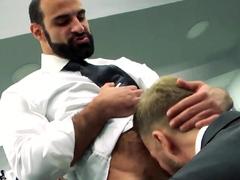 MENATPLAY Blond Hunk Matthew Anders Ass Fucks Bearded Waiter