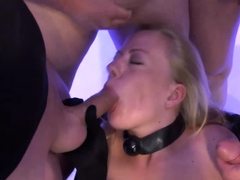 Blonde Bitch In Latex Emma Gets Arse Fucked In Gangbang